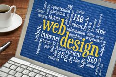 Web design word cloud on laptop screen royalty free stock images