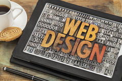 Web design on digital tablet stock photo