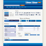 Web Design Elements 1 (Blue Theme) Vector Royalty Free Stock Photography
