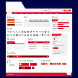 Web Design Elements 2 (Red Theme) Vector Stock Images