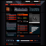 Web Design Elements 5 (Dark Theme). This is a template for web design. It contains many type of web elements such as button, navigation bar, icons and etc Stock Image