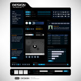 Web Design Elements 6 (Dark Theme) Vector. This will be the 6th web design theme with a complete web elements for your usage Stock Image