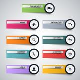 Web design elements as stickers with circular pointers Stock Illustration