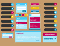 Web design elements in colourful vector illustration