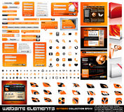 Web design elements extreme collection. Frames, bars, 101 icons, bannes, login forms, buttons.4 websites,4software boxes and so on stock illustration