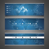 Web Design Elements - Header Design with World Map Stock Images