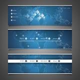 Web Design Elements - Header Design with World Map Stock Images