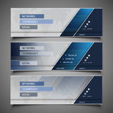 Web Design Elements - Header Designs. Set of Blue and Silver Grey Horizontal Headers or Banners with Abstract World Map Background - Design Template for Business Royalty Free Stock Photos