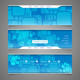 Web Design Elements - Header Designs with Squares Pattern Stock Image