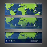 Web Design Elements - Header Designs with World Map Stock Images