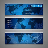 Web Design Elements - Header Designs with World Map Royalty Free Stock Photography