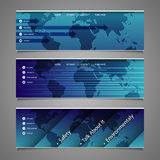 Web Design Elements - Header Designs with World Map Stock Photography