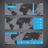 Web Design Elements - Header Designs with World Map. Set of Dark Grey Abstract Horizontal Headers or Banners with Creative Blue Menu Bar and Icons - Design Stock Image