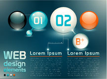 Web design elements. With numbered banners and sample text, named and structured layers EPS 10, transparency Stock Image