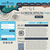 Web design elements in retro style blue and beige. Template. Music. Vector Stock Photos