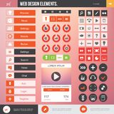 Web design elements. Set of the buttons and icons on stylish background. Flat Web Design elements for website Stock Photo