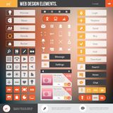 Web design elements. Set of the buttons and icons on stylish background. Flat Web Design elements for website Stock Photos