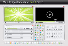 Web design elements set. Part 3. Silver. Vector illustration Royalty Free Stock Photo