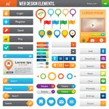 Web Design Elements. Elements for website: color buttons, icons, navigation Royalty Free Stock Photography
