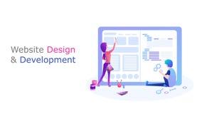 Web design et d?veloppement les gens créent un site Web de conception illustration libre de droits