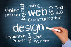 Web design - female hand writing text. Web design - female hand with chalk writing text on blue background stock photo