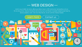 Web design flat concept. Programming apps infographics template header design. Vector illustration. Royalty Free Stock Photos