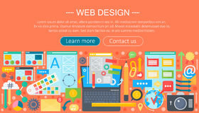 Web design flat concept. Programming apps infographics template header design. Vector illustration. Royalty Free Stock Images