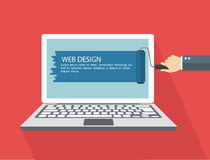 Web design flat illustration.Hand with roller painting laptop. Royalty Free Stock Photos
