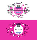 Web Design. Flat line color hero images and hero banners design. Set of modern vector illustration concepts of web design process. Line flat design hero banners Royalty Free Stock Photos