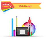 Web Design Graphic Tablet and Tool Stock Photo