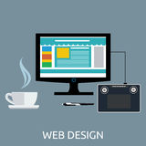 Web Design Graphic Tablet and Tool Royalty Free Stock Photography