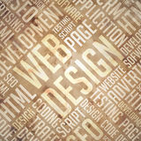 Web Design - Grunge Beige-Brown Wordcloud. Royalty Free Stock Photo