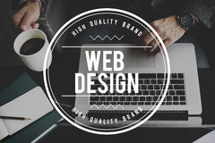 Web Design Homepage Digital Notebook Connection Concept Stock Photos