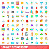 100 web design icons set, cartoon style Stock Photo
