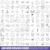 100 web design icons set, outline style. 100 web design icons set in outline style for any design vector illustration Stock Photos