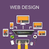 Web design illustration. Flat design. Banner illustration. Flat design illustration concepts for web designer, web development, we Stock Photography