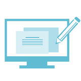 Web Design Infographic. Infographic in flat color of pencil on computer monitor depicting the editing of website Stock Illustration