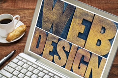 Web design on laptop screen Royalty Free Stock Images