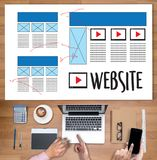 Web Design layout sketch drawing Software Media WWW and Graphic. Layout Website development project royalty free stock image