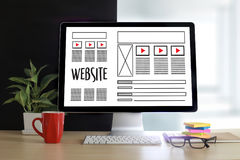Web Design layout sketch drawing Software Media WWW and Graphic Royalty Free Stock Image