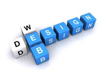Web design in letter cubes. 3D letter cubes spelling web design in crossword fashion Royalty Free Stock Photography