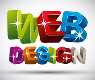 Web design lettering made with colorful 3d letters  on w Stock Photos