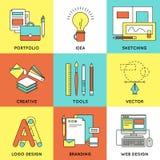 Web Design Line Icon Set stock illustration