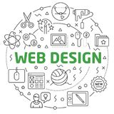 Web Design Linear illustration slide for the presentation. White Bg Linear illustration slide for the presentation Stock Photography