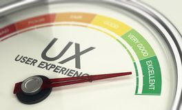 Web Design and Marketing Concept, Measuring UX, User Experience royalty free stock image