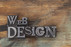 Web design in metal type blocks Stock Images