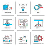 Web design and mobile marketing line icons set Stock Image