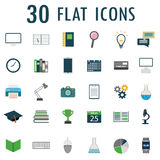 30 web design objects, business, office and scientific items ico. 30 flat  web design objects, business, office and scientific items icons. Vector Royalty Free Stock Images