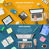 Web design and online payments concept stock photography