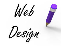 Web Design with Pencil Infers Written Plan for Royalty Free Stock Photography